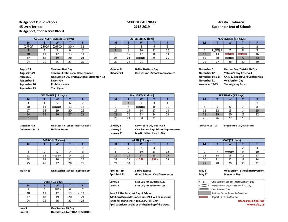 2018-2019 School Calendar / 2018-2019 school calendar